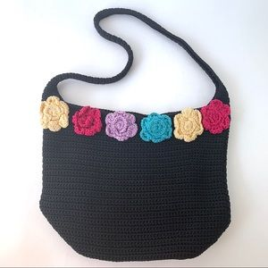 Lina Large Crochet Bucket Bag Black with Flowers